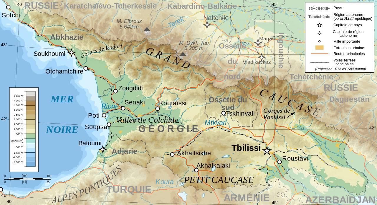 carte geographique Georgie